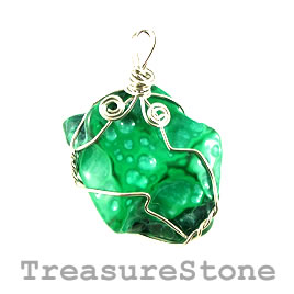 Pendant, malachite, 36x38mm. Sold individually.