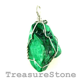 Pendant, malachite, 32x47mm. Sold individually.