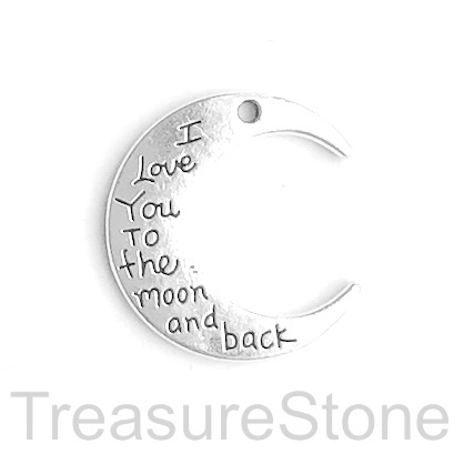 "Pendant, ""I love you to the moon & back"", 27x30mm moon. 5pcs"