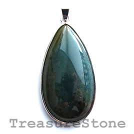 Pendant, moss agate. 25x47mm. Sold individually.