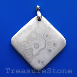 Pendant, ocean agate. 58mm. Sold individually.