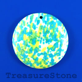 Pendant, painted stone, 40mm. Sold individually.