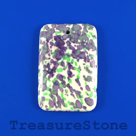 Pendant, painted stone, 31x46mm. Sold individually.