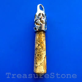 Pendant, picture jasper. 11x57mm. Sold individually.