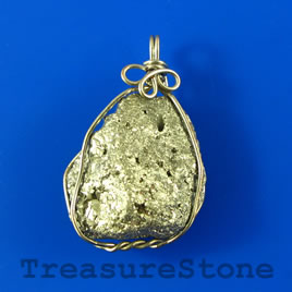 Pendant, Pyrite, 23x28mm. Sold individually.