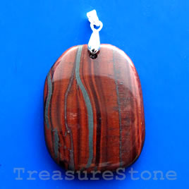 Pendant, red tigereye. 30x40mm. Sold individually.