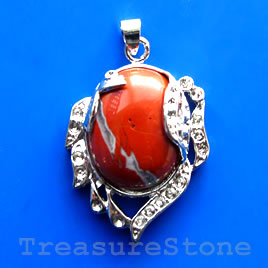 Pendant, red jasper. 28x35mm. Sold individually.