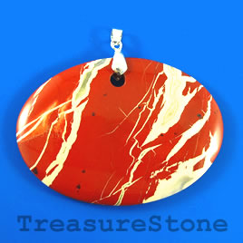 Pendant, red jasper, 50x70mm. Sold individually.