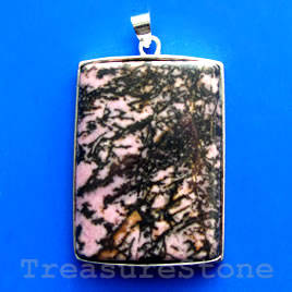 Pendant, rhodonite. 30x39mm. Sold individually.