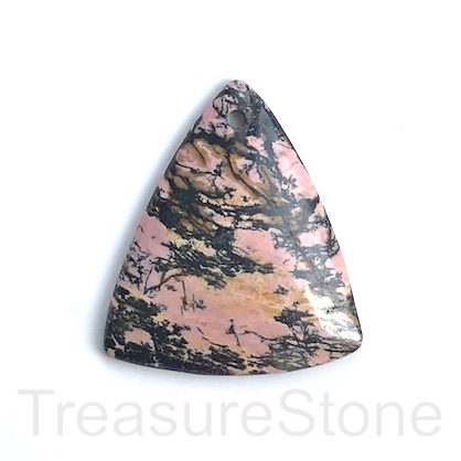 Pendant, Rhodonite, 44x52mm. Sold individually.