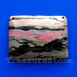 Pendant, rhodonite. 38x50mm. Sold individually.