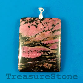 Pendant, Rhodonite, 39x50mm. Sold individually.