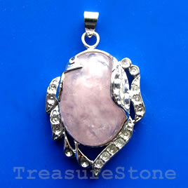 Pendant, rose quartz. 28x36mm. Sold individually.