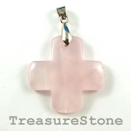 Pendant, Rose Quartz, 34mm cross. Sold individually.