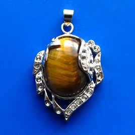 Pendant, tiger eye. 32x35mm. Sold individually.