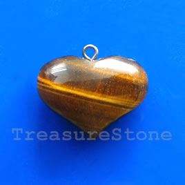 Pendant, tiger eye. 22x26mm. Sold individually.