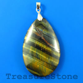 Pendant, Blue Tigereye, 33x50mm teardrop. Sold individually.