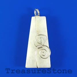 Pendant, white jade, 25x49mm. Sold individually.