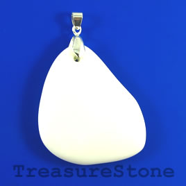 Pendant, white stone, 38x47mm. Sold individually.