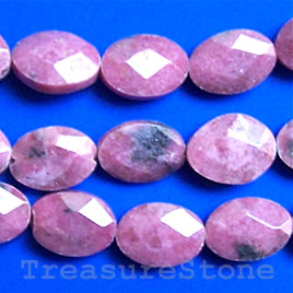 Bead, rhodonite faceted puffed oval, 10x14mm, 16-inch strand