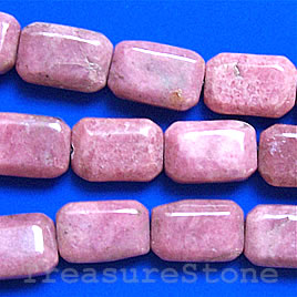 Bead, rhodonite flat Rectangle, 10x15x6mm, 16-inch strand