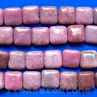Bead, Rhodonite Flat Square, 12mm, 16-inch strand