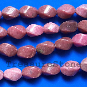 Rhodonite Twist, 9x12mm, 16-inch strand