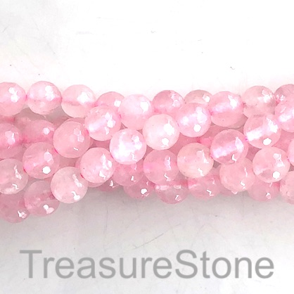 Bead, rose quartz 1, 10mm faceted round. 15.5-inch, 40pcs
