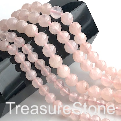 Bead, rose quartz, non wax, 8mm round. 15inch, 47pcs
