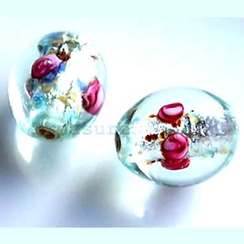 Bead, lampworked glass, 10x15mm oval. Pkg of 5.