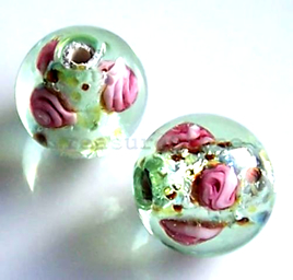 Bead, lampworked glass, light green, 14mm round. Pkg of 6.