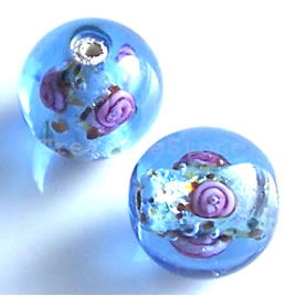 Bead, lampworked glass, light blue, 14mm round. Pkg of 6.