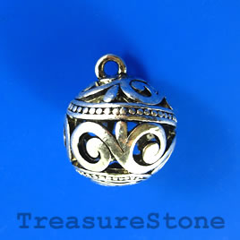 Pendant, silver-finished, 24mm filigree round. Each.