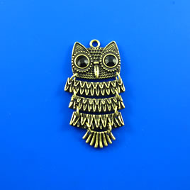 Pendant, brass-finished, 45mm Owl. Each.
