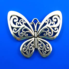 Pendant, silver-finished, 50x58mm butterfly. Each.