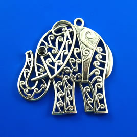 Pendant, silver-finished, 50mm elephant. Each.
