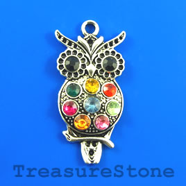 Pendant, 24x45mm owl with crystals. Each.