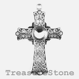 Pendant, 59x81mm cross with crystal. Each.