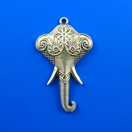 Pendant, silver-finished, 43mm elephant. Pkg of 3.