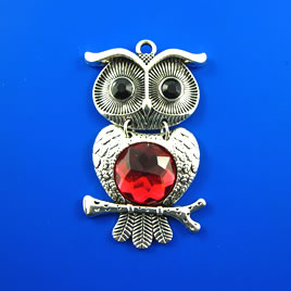 Pendant, silver-finished, 59mm Owl. Each.