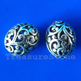 Bead,antiqued silver-finished,10x13x14mm filigree oval. Pkg of 2