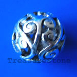 Bead, antiqued silver-finished, 13mm filigree round. Pkg of 2.