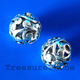 Bead, antiqued silver-finished, 10mm filigree round. Pkg of 4.