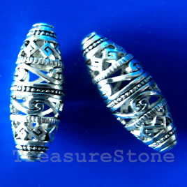 Bead, silver-finished, 10x26mm filigree oval. Sold individually.
