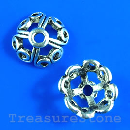 Bead cap, antiqued silver-finished, 11mm. Pkg of 10
