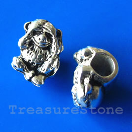 Bead, silver-finished, large hole, 12x9mm monkey. Pkg of 5.