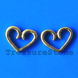Bead, antiqued gold-finished, 16x12mm heart. Pkg of 20.