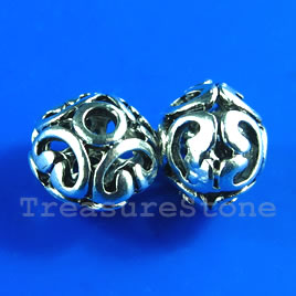 Bead, antiqued silver-finished, 10x12mm filigree. Pkg of 4.