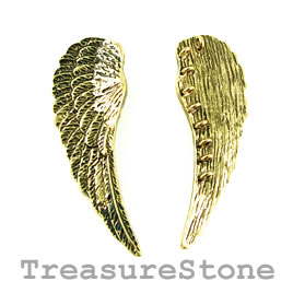 Pendant, gold-finished, 60mm feather with 9 loops. Each.