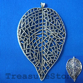 Pendant, silver-finished, 51x78mm filigree leaf. Each.